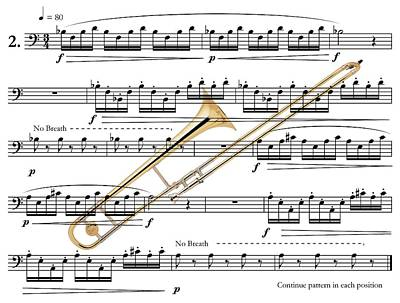 The Trombone Art Print by Ron Davidson