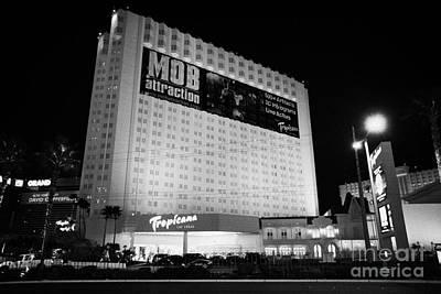 Tropicana Las Vegas Photograph - the tropicana hotel and casino at night Las Vegas Nevada USA by Joe Fox