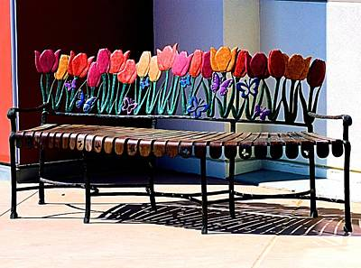 Photograph - The Tulip Bench by Bob Wall