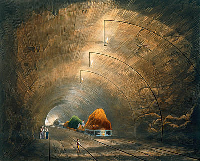 Soil Drawing - The Tunnel, From Coloured View by Thomas Talbot Bury