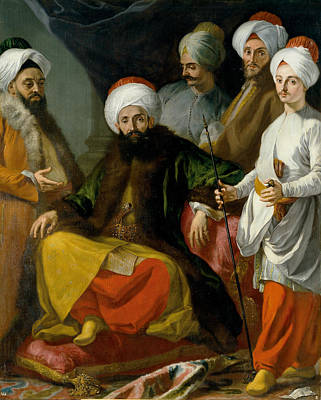 Turkish Painting - The Turkish Ambassador And His Entourage At The Court Of Naples by Giuseppe Bonito