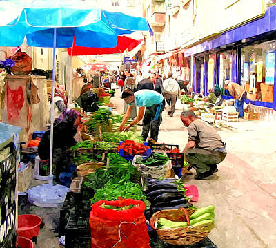 The Turkish Woman's Street-side Vegetable Market Art Print by Lanjee Chee