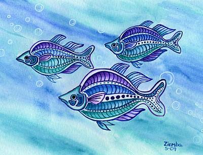 Painting - The Turquoise Rainbow Fish by Lori Ziemba