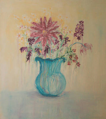 The  Turquoise Vase Art Print by Kathy Peltomaa Lewis
