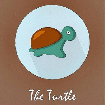 The Turtle Cute Portrait Art Print by Florian Rodarte