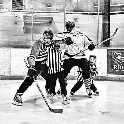 Youth Hockey Digital Art - The Tussle by Elizabeth Urlacher