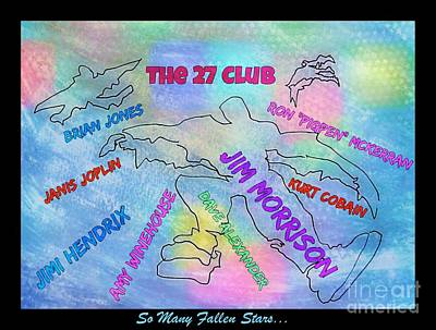 Musicians Drawings - The Twenty Seven Club by John Malone