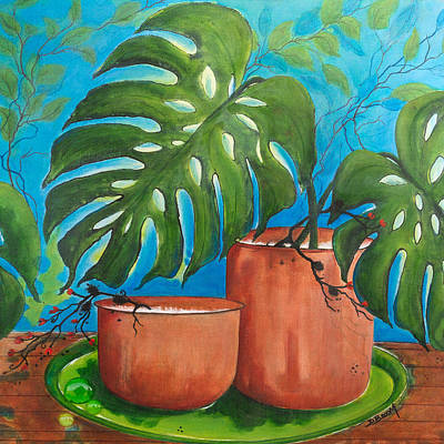 Philodendron Painting - The Two Pots by Dawn Broom