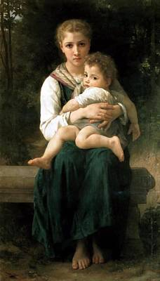 The Two Sisters Digital Art - The Two Sisters by William Bouguereau