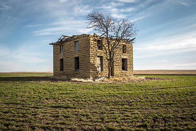 Abandoned Houses Photograph - The Two Story Square Limestone House by Chris Harris