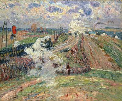 Railway Tracks Painting - The Two Trains by Jean Baptiste Armand Guillaumin