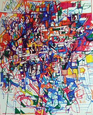 Conceptual Abstraction Drawing - The Tzaddik Lives On Emunah by David Baruch Wolk