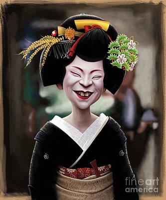 Geisha Drawing - The Ugly Geisha by Andre Koekemoer
