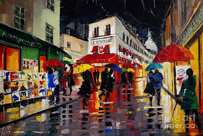 Bar Scene Painting - The Umbrellas Of Montmartre by Mona Edulesco