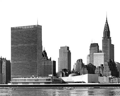 United Nations Photograph - The Un And Chrysler Buildings by Underwood Archives
