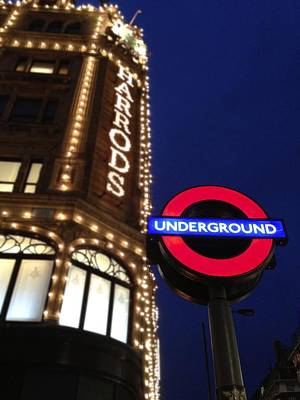 The Underground And Harrods In London Print by Jennifer Lamanca Kaufman