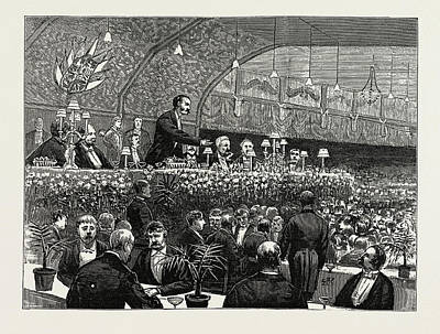 Banquet Drawing - The Unionist Banquet At The Waverley Market by Litz Collection