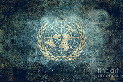The United Nations Flag  Vintage Version Art Print
