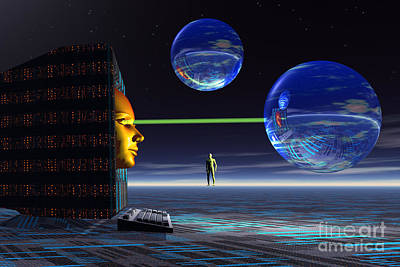 Human Head Digital Art - The Universe Of Cyberspace by Mark Stevenson