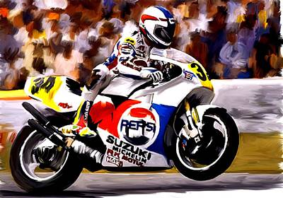 Painting - The Unleashing   Kevin Schwantz by Iconic Images Art Gallery David Pucciarelli