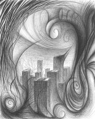 Drawing - The Unsuspecting City by Michael Morgan