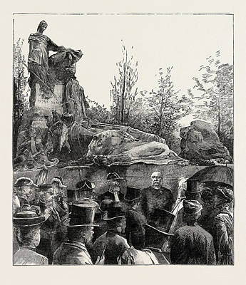 The Unveiling Of The Waterloo Monument In The Evere Cemetery Art Print