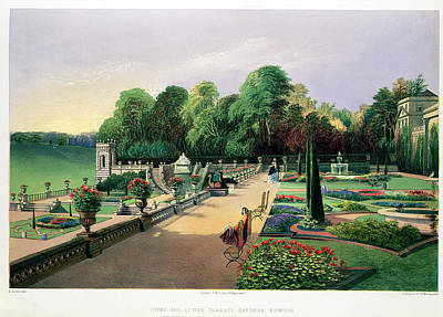 Garden Drawing - The Upper And Lower Terrace Gardens by E. Adveno Brooke