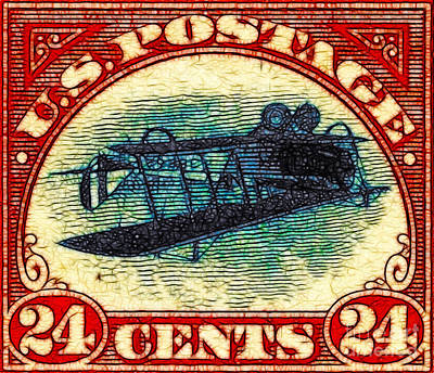 Wingsdomain Digital Art - The Upside Down Biplane Stamp - 20130119 by Wingsdomain Art and Photography