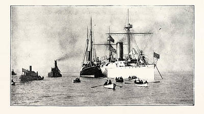 Cruiser Drawing - The U.s. Cruiser Charleston Receiving On Board The King by English School