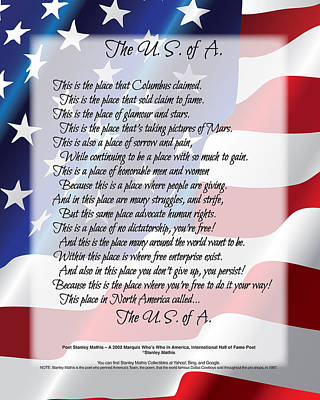 The U.s.a. Flag Poetry Art Poster Art Print by Stanley Mathis