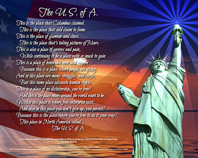 Digital Art - The Usa Statue Of Liberty Poetry Art Poster by Stanley Mathis