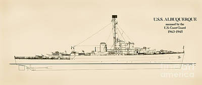 U.s. Coast Guard Drawing - The U.s.s. Albuquerque by Jerry McElroy - Public Domain Image
