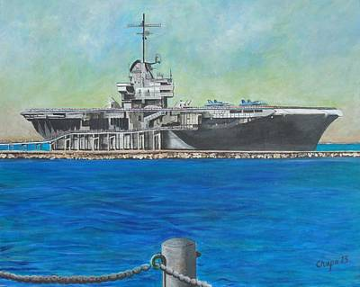 Painting - The Uss Lexington - Corpus Christi Texas by Manny Chapa