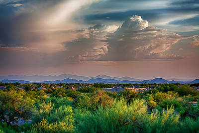 Clouds Photograph - The Valley At Dusk by Fred Larson