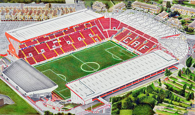 Sports Paintings - The Valley Stadia Art - Charlton Athletic FC by Brian Casey