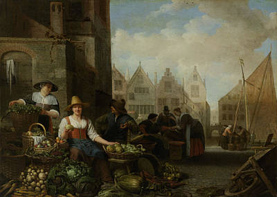 Vegetable Market Drawing - The Vegetable Market by Litz Collection