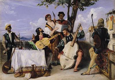 Lute Photograph - The Venetian Concert Oil On Panel by Alexandre-Jean-Baptiste Hesse