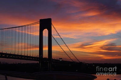 The Verrazano-narrows Bridge St Sunrise Art Print