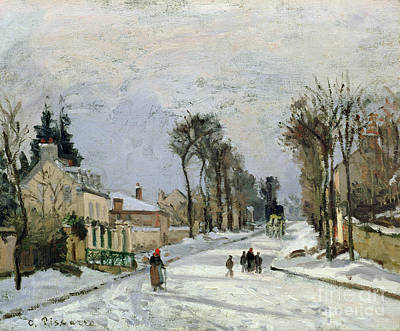 Snowfall Painting - The Versailles Road At Louveciennes by Camille Pissarro