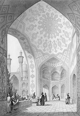 Iran Painting - The Vestibule Of The Main Entrance Of The Medrese I Shah-hussein by Pascal Xavier Coste