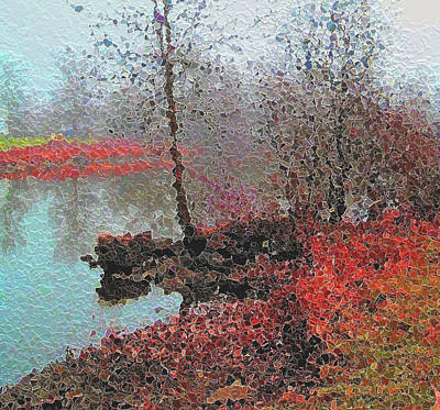 The View Across The Rideau On A Foggy Morning Print by Mario Carini