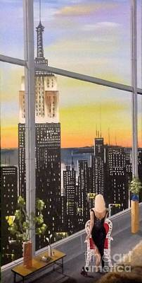 Woman At The Window Painting - The View Of The Hudson by Jose Luis Reyes