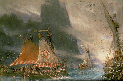 Shipping Painting - The Viking Sea Raiders by Albert Goodwin