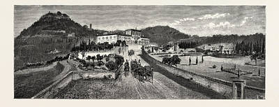 Villa Drawing - The Villa And Gardens From The Road, The Villa Palmieri by Italian School