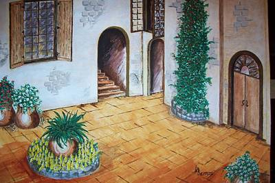 Spanish Villa Painting - The Villa by Dwayne Barnes