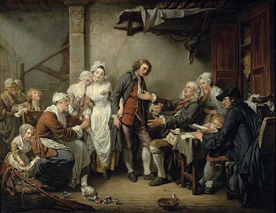 The Village Agreement, 1761 Oil On Canvas Art Print