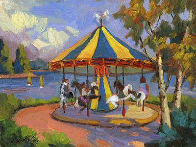 The Village Carousel At Lake Arrowhead Art Print by Diane McClary
