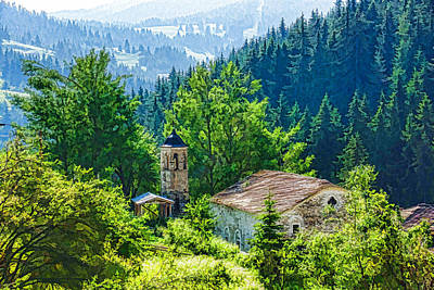 Belfry Digital Art - The Village Church - Impressions Of Mountains And Forests by Georgia Mizuleva