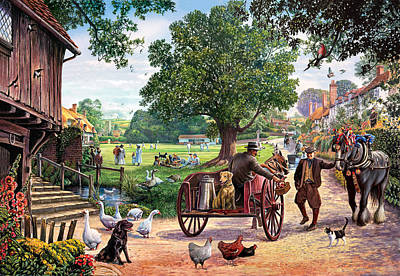 The Village Green Art Print by Steve Crisp