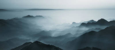 Blue Tone Photograph - The Village In The Morning Mist by Liwulei